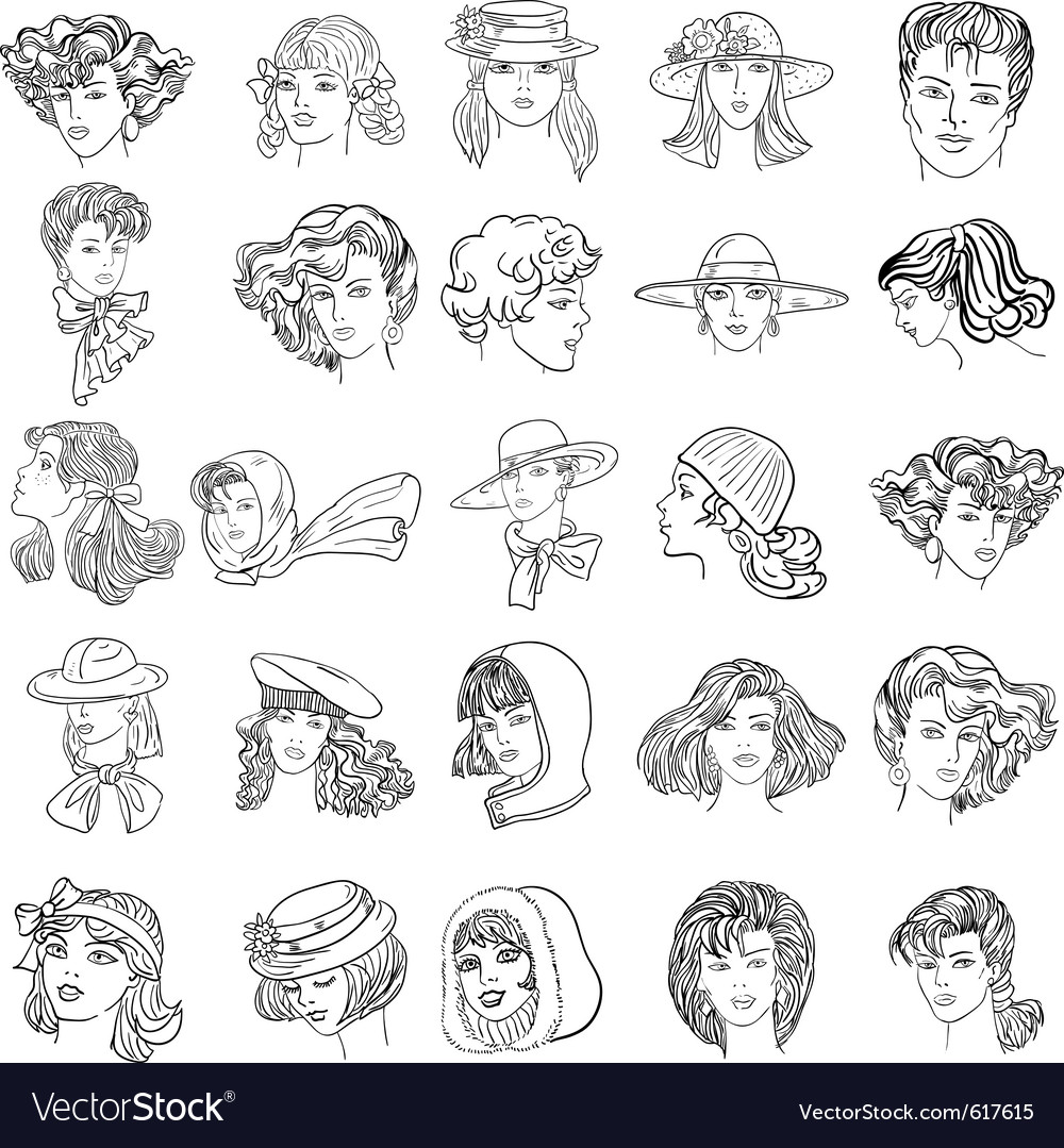 Handdrawn fashion model faces vector
