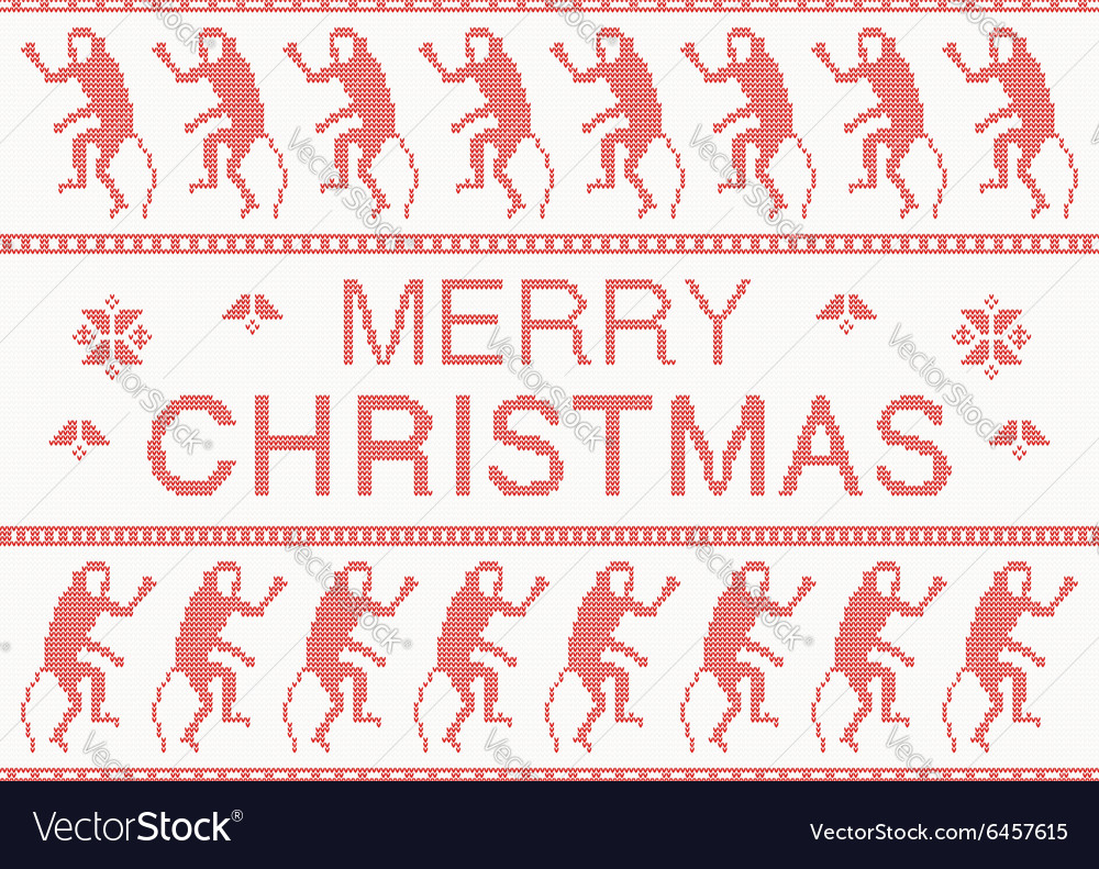 Merry christmas scandinavian style knitted pattern vector