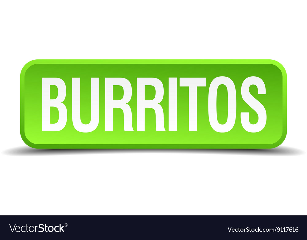 Burritos green 3d realistic square isolated button vector