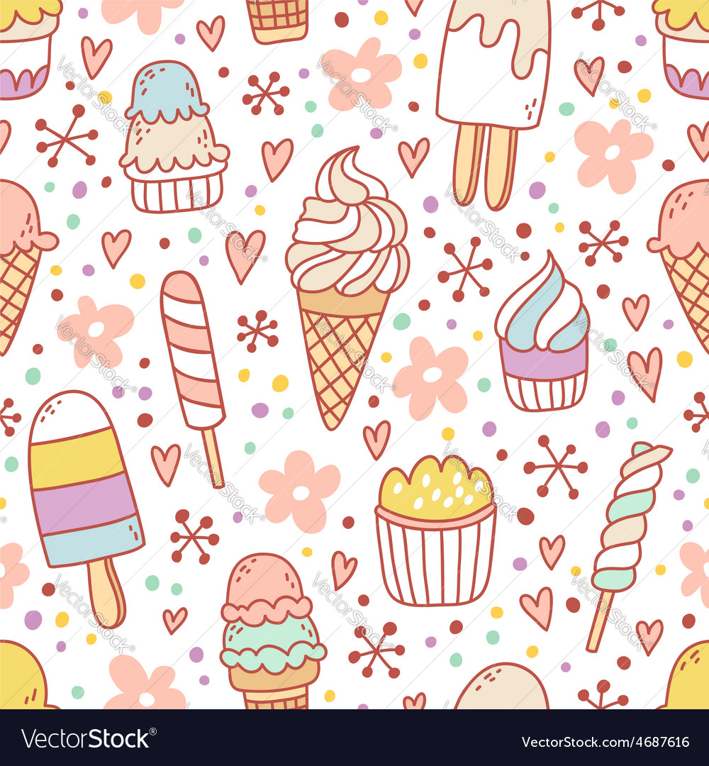 Yummy ice cream seamless pattern vector