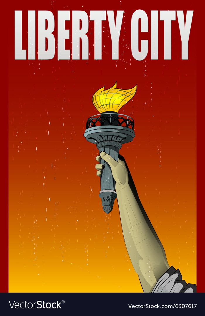 Liberty lady monument hand vector