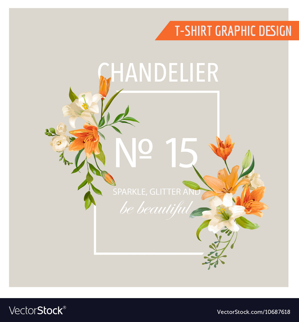 Floral frame graphic design  summer lily flowers vector