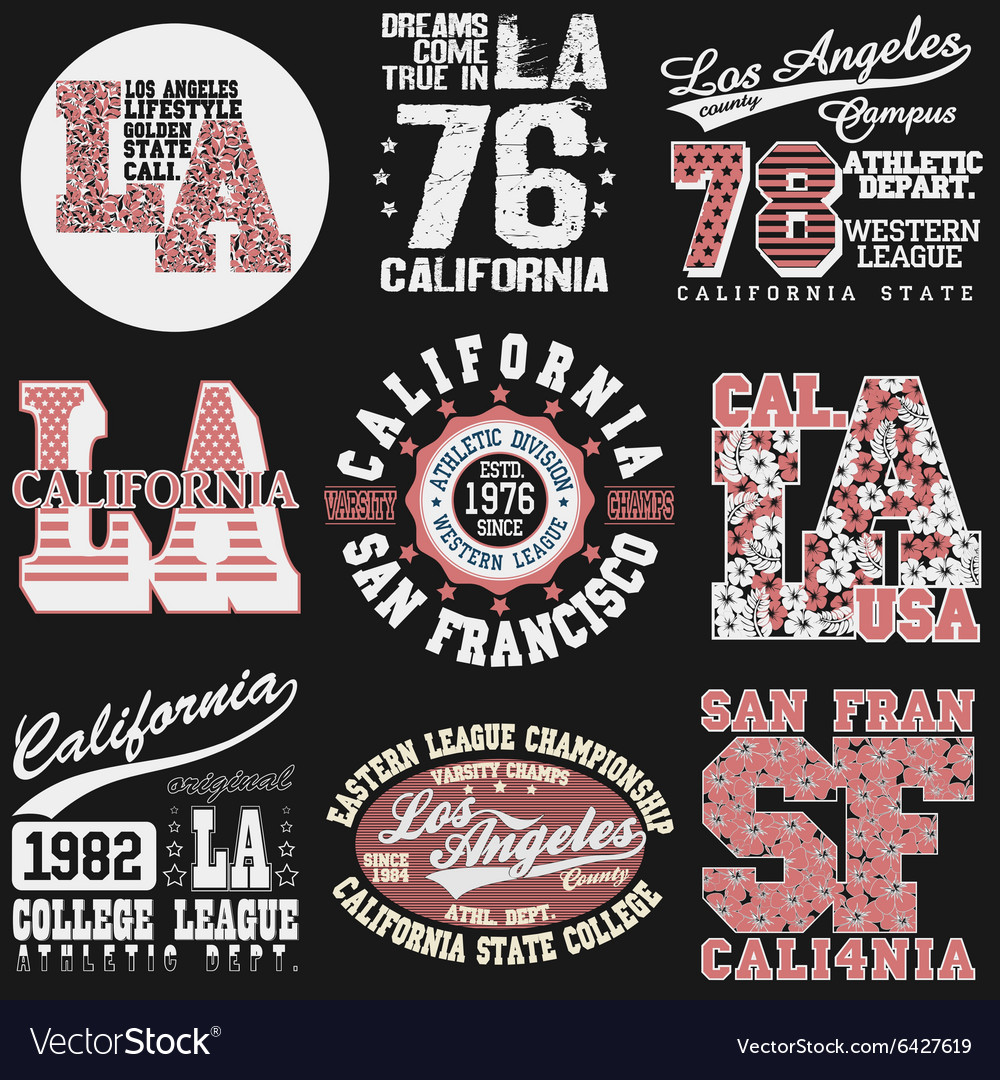 California tshirt fashion typography vector