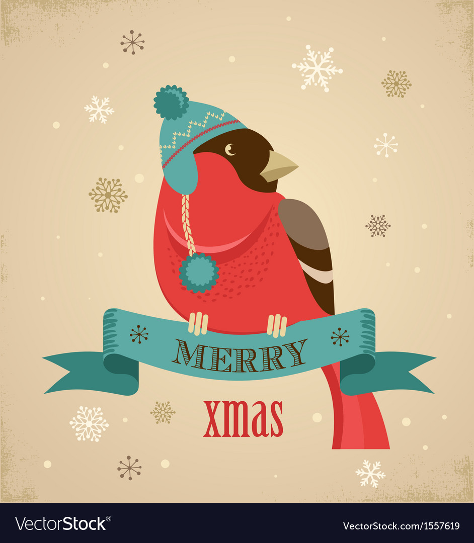 Christmas background with hipster bullfinch vector
