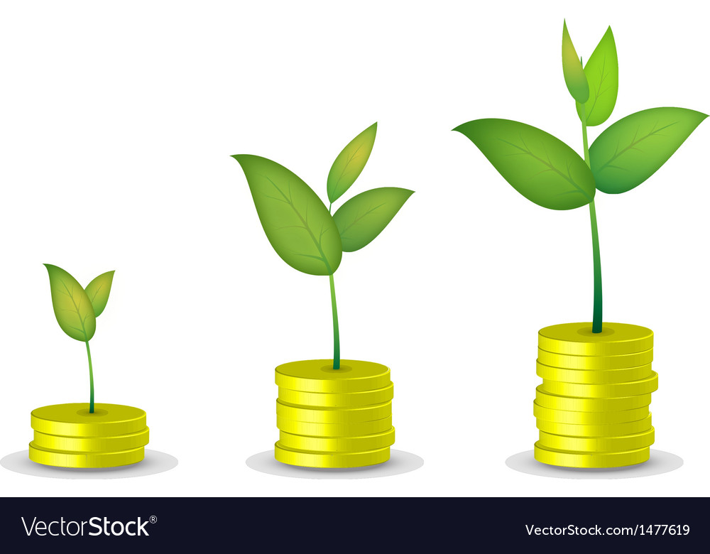 Coin tree grow vector