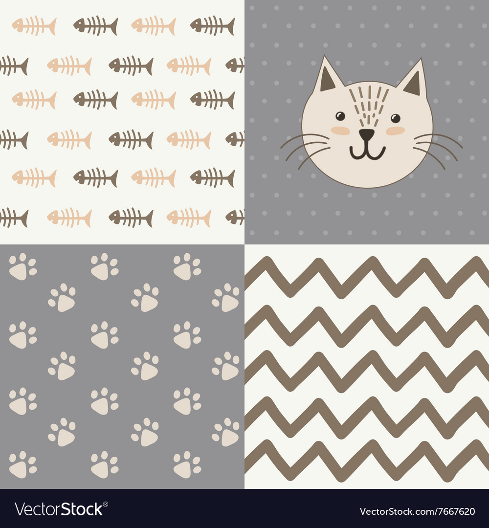Cute baby shower pattern with a cat vector