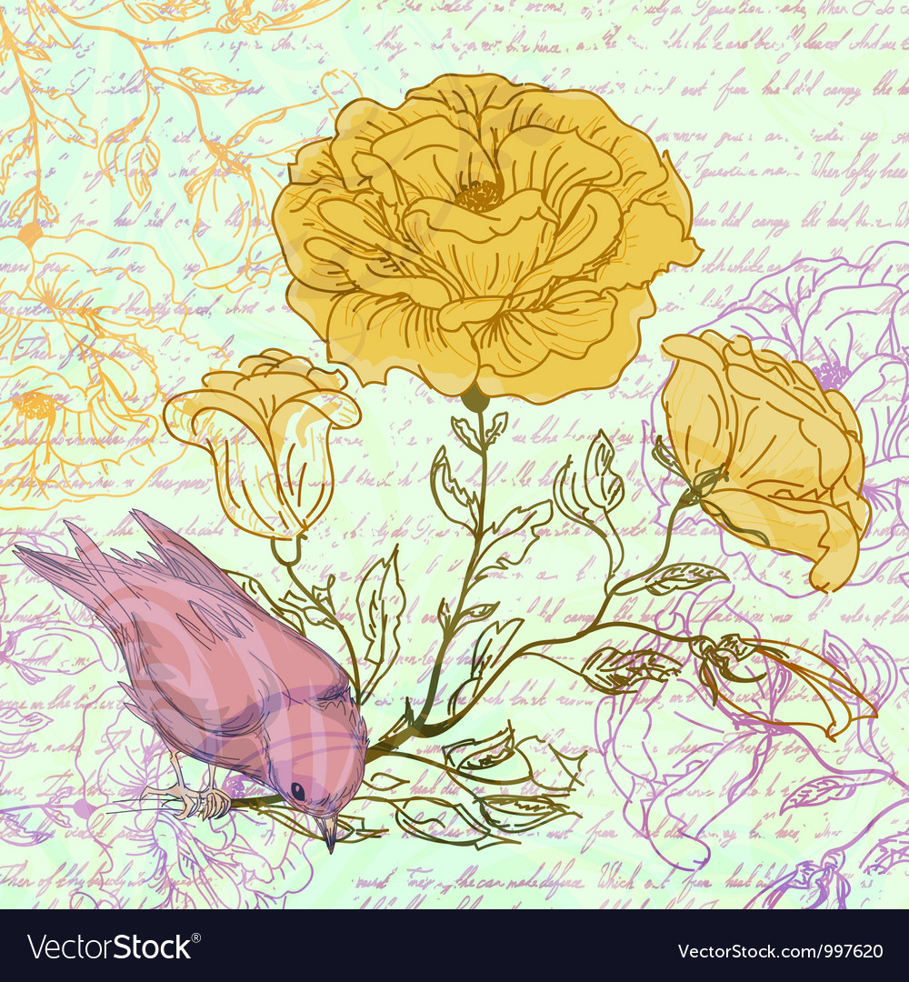 Grungy retro background with roses and bird vector