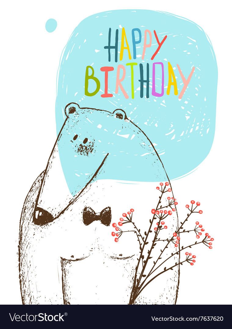 Happy birthday bear greeting card with flowers vector
