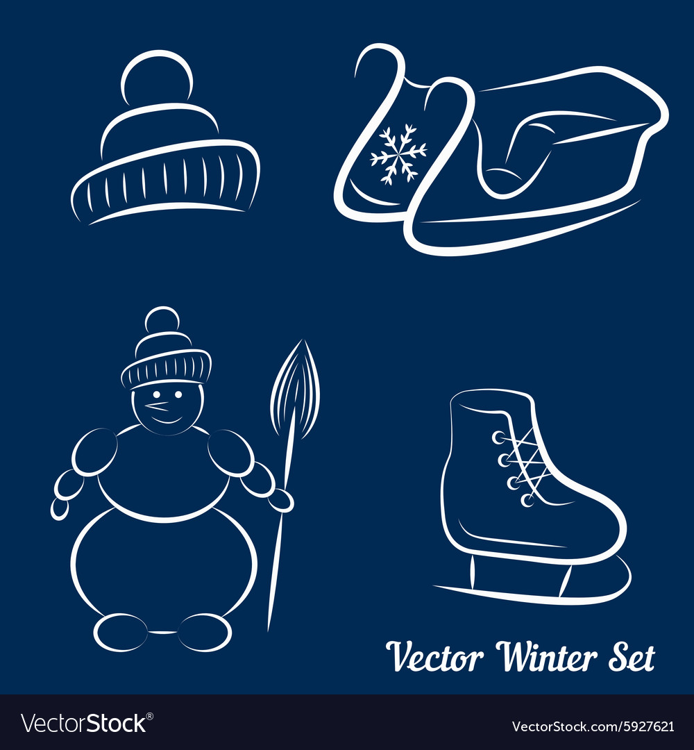 Calligraphic winter drawings on a dark blue vector