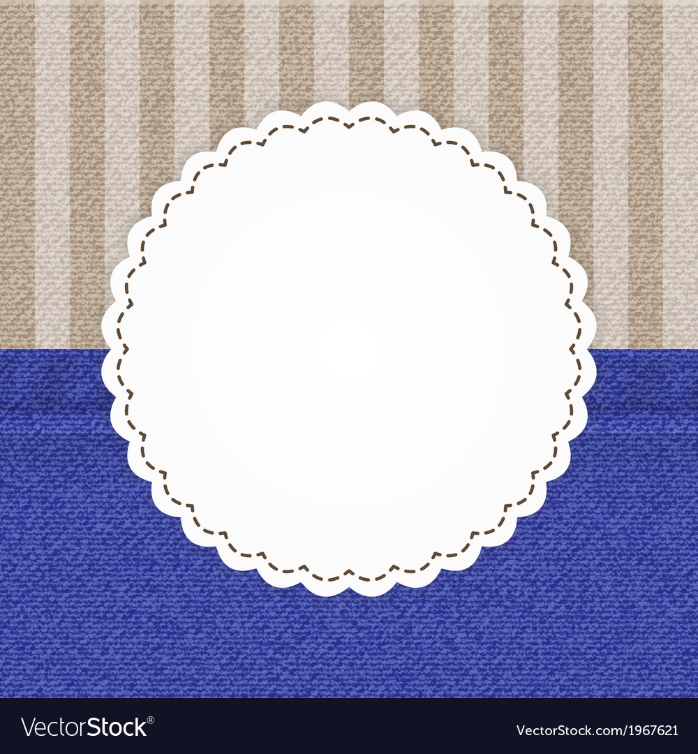 Jeans blue and stripped brown card template vector