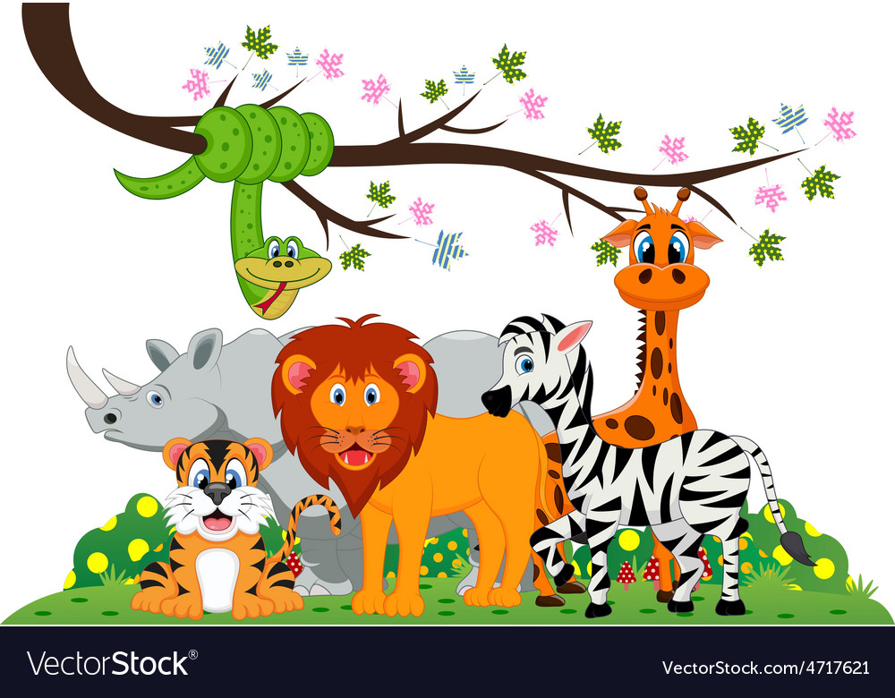 Lion tiger zebra rhino snake and giraffe were vector