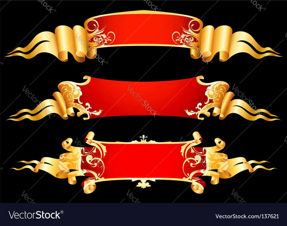 Set of 3 red ribbon vector