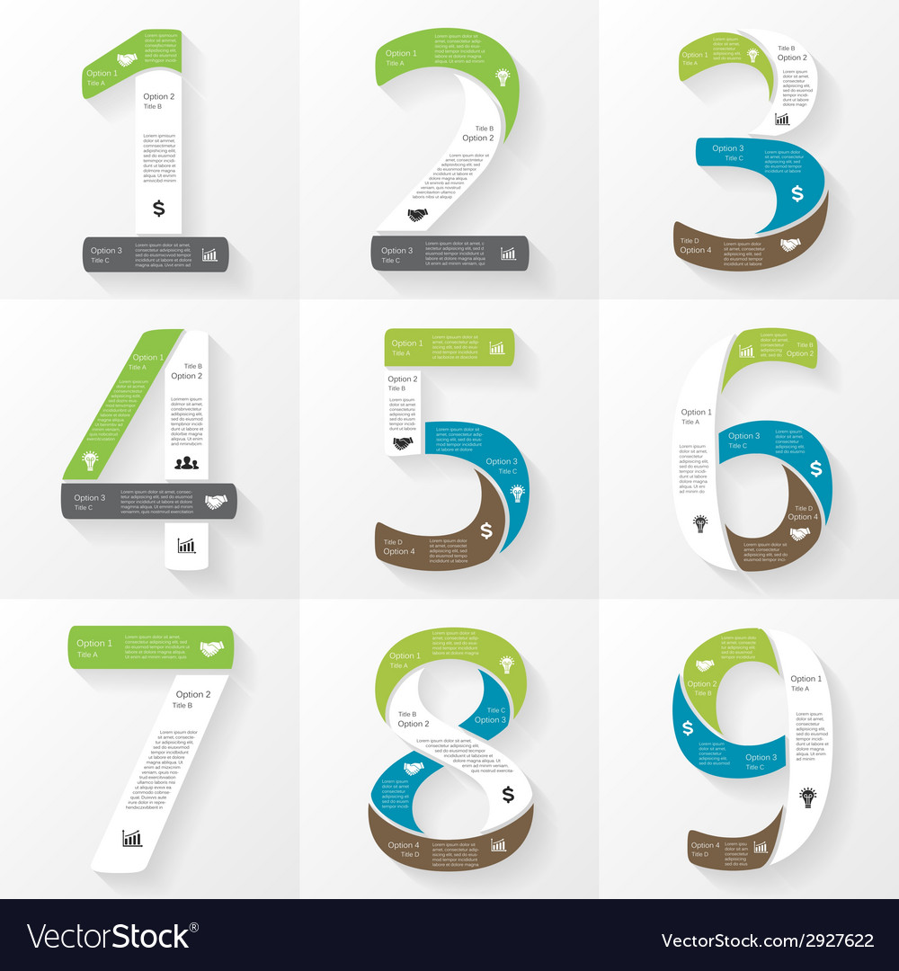 Font infographic diagram presentation numbers 1 2 vector