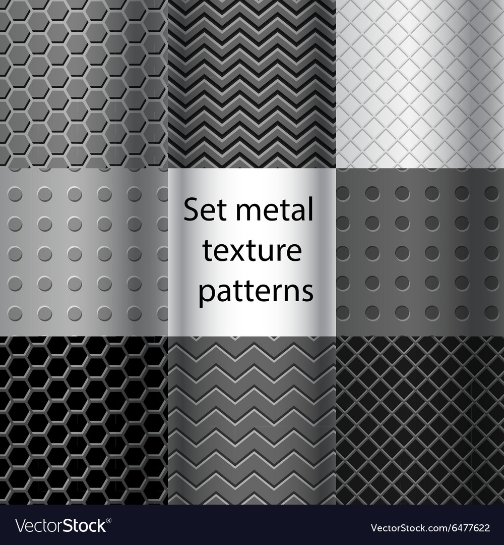 Set of metal texture seamless patterns vector