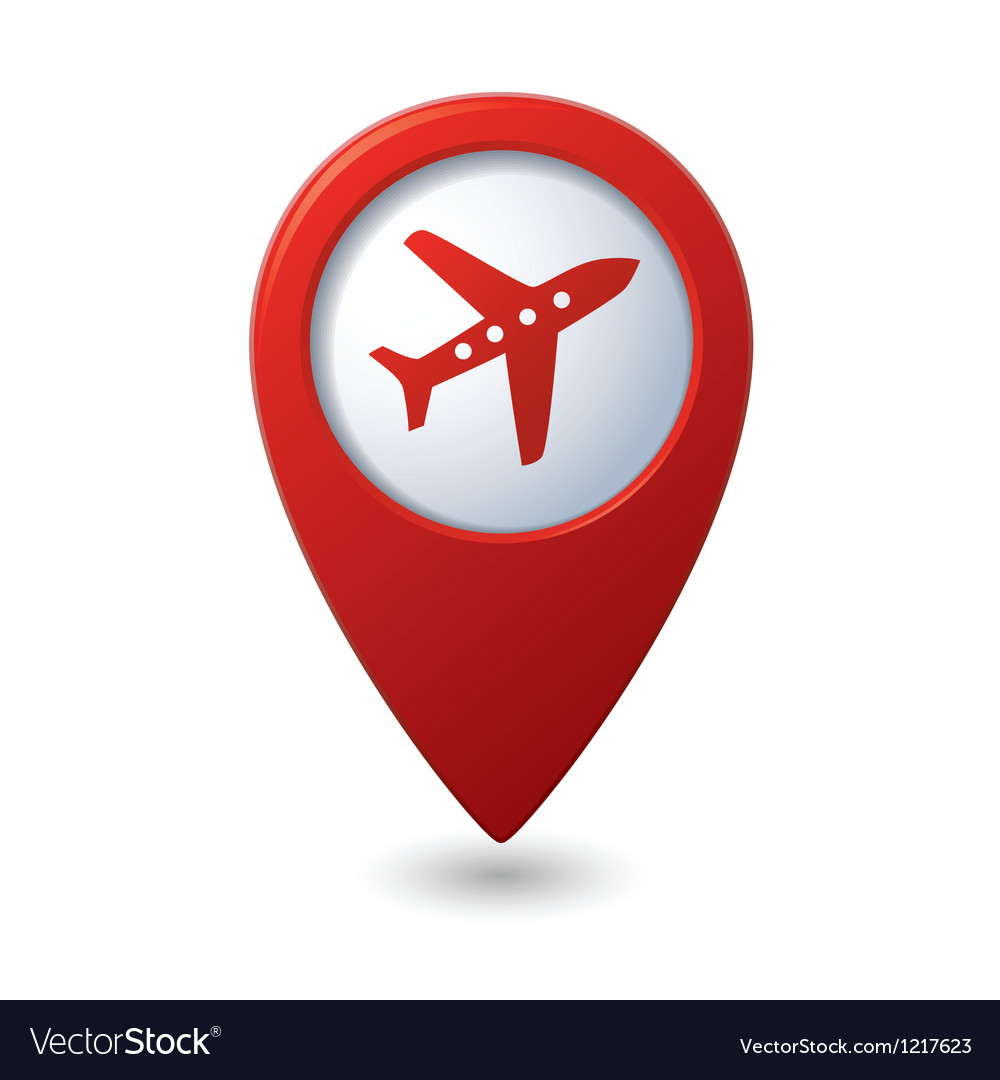 Map pointer with airplane icon vector