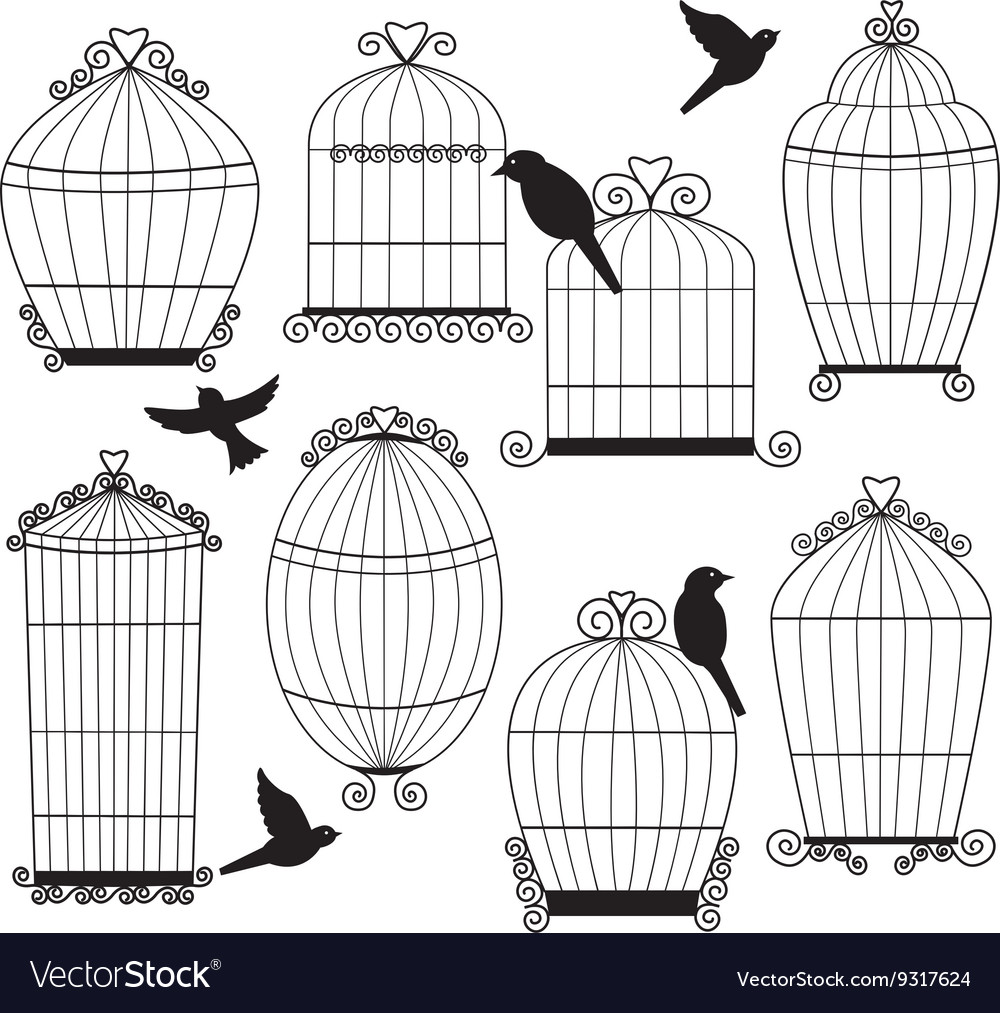 Birdcages and birds silhouette set vector