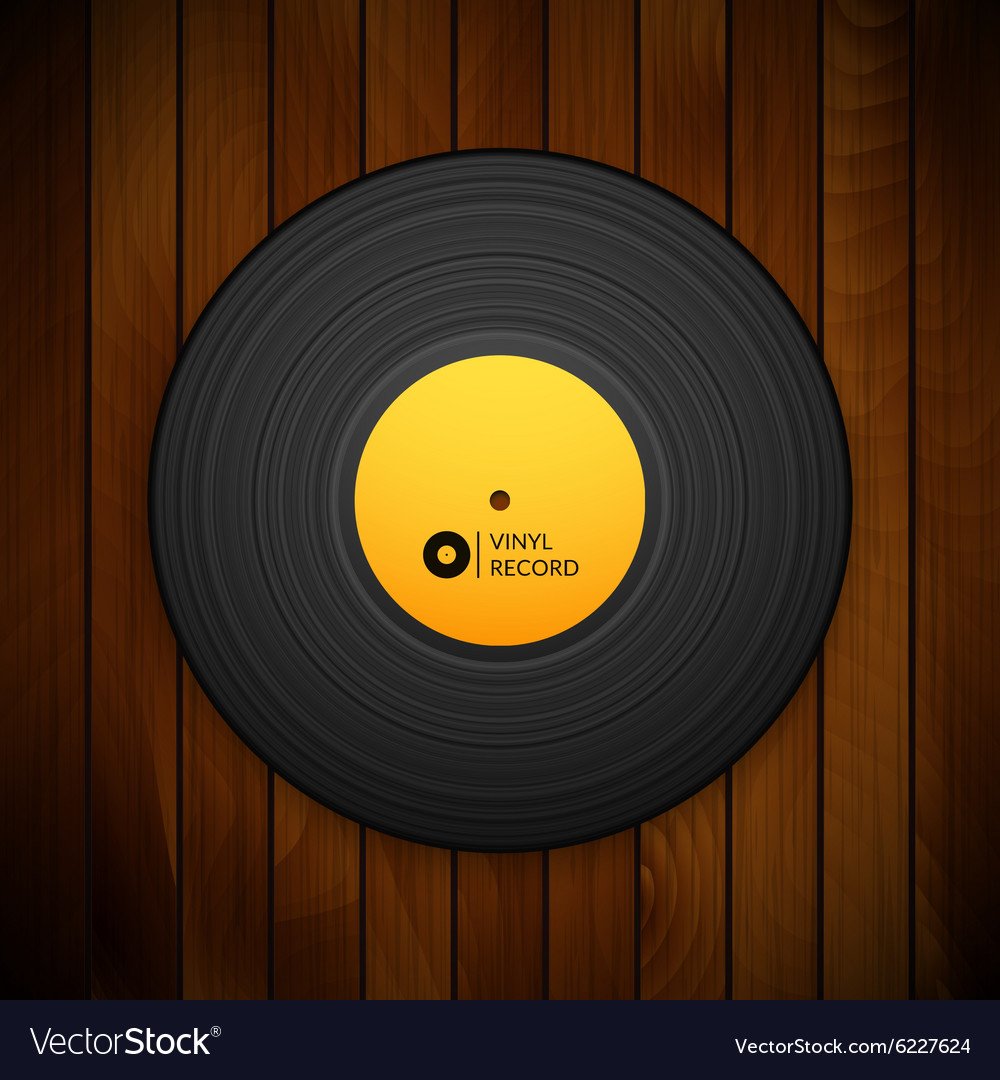 Black vintage vinyl record isolated on red wood vector