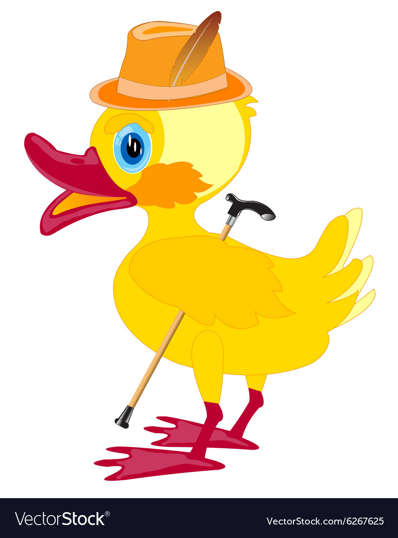 Duckling in hat with walking stick vector