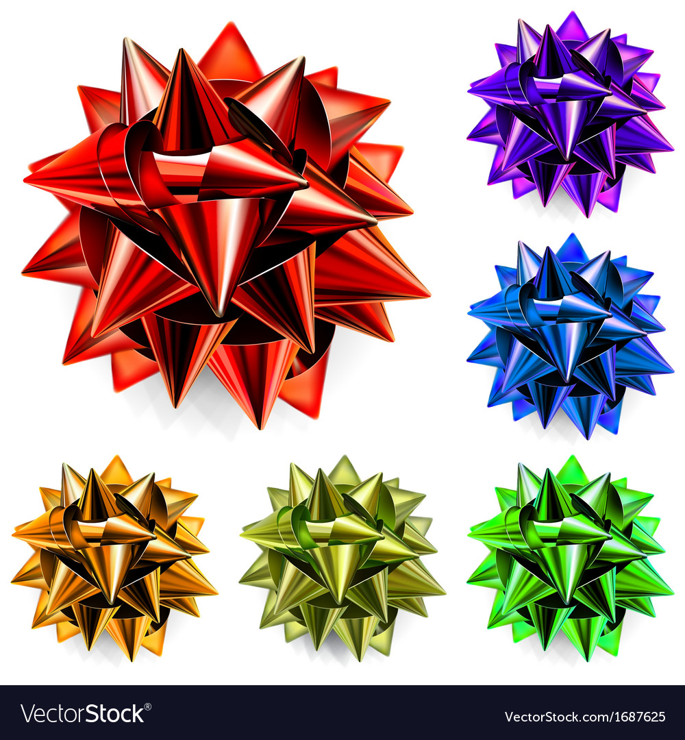 Multicolored bows of ribbon vector