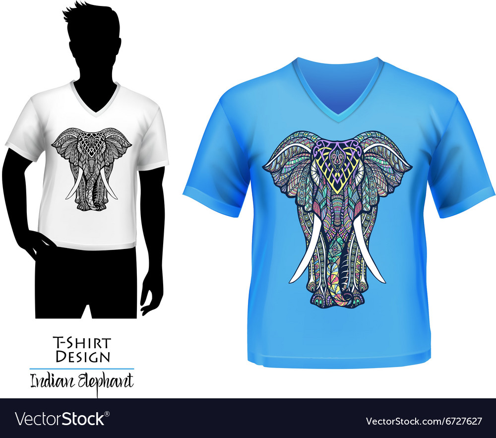 Indian elephant doodle tshirt design banner vector