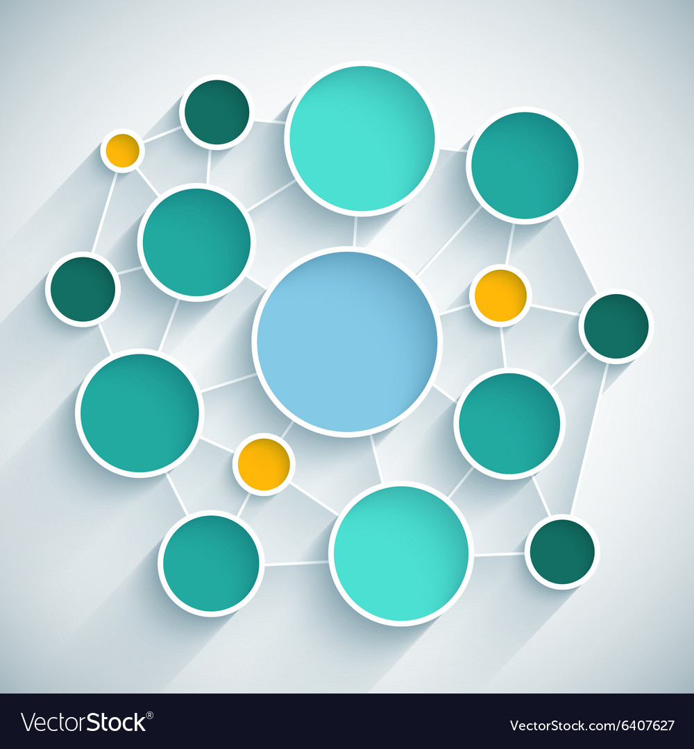 Infographics network flat design scheme with blue vector
