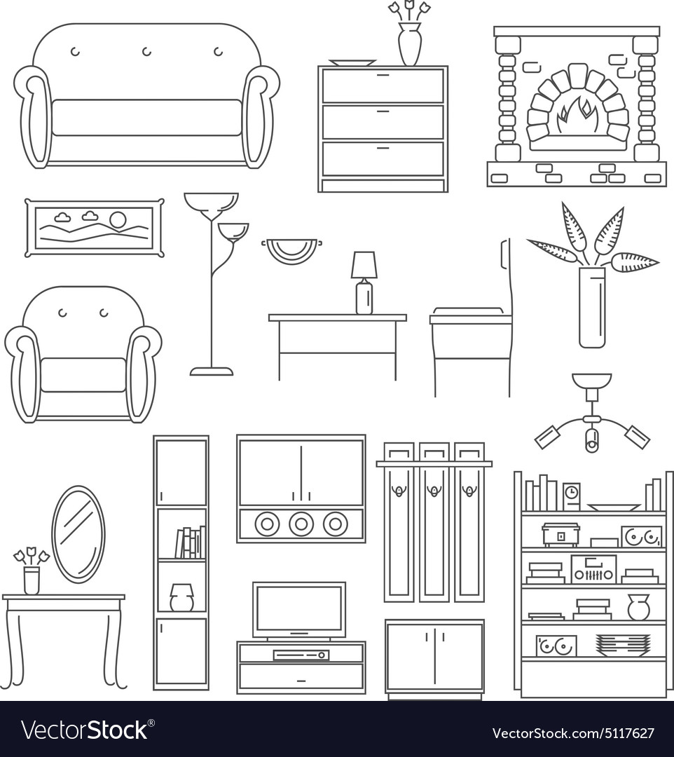 Interior icons line set vector