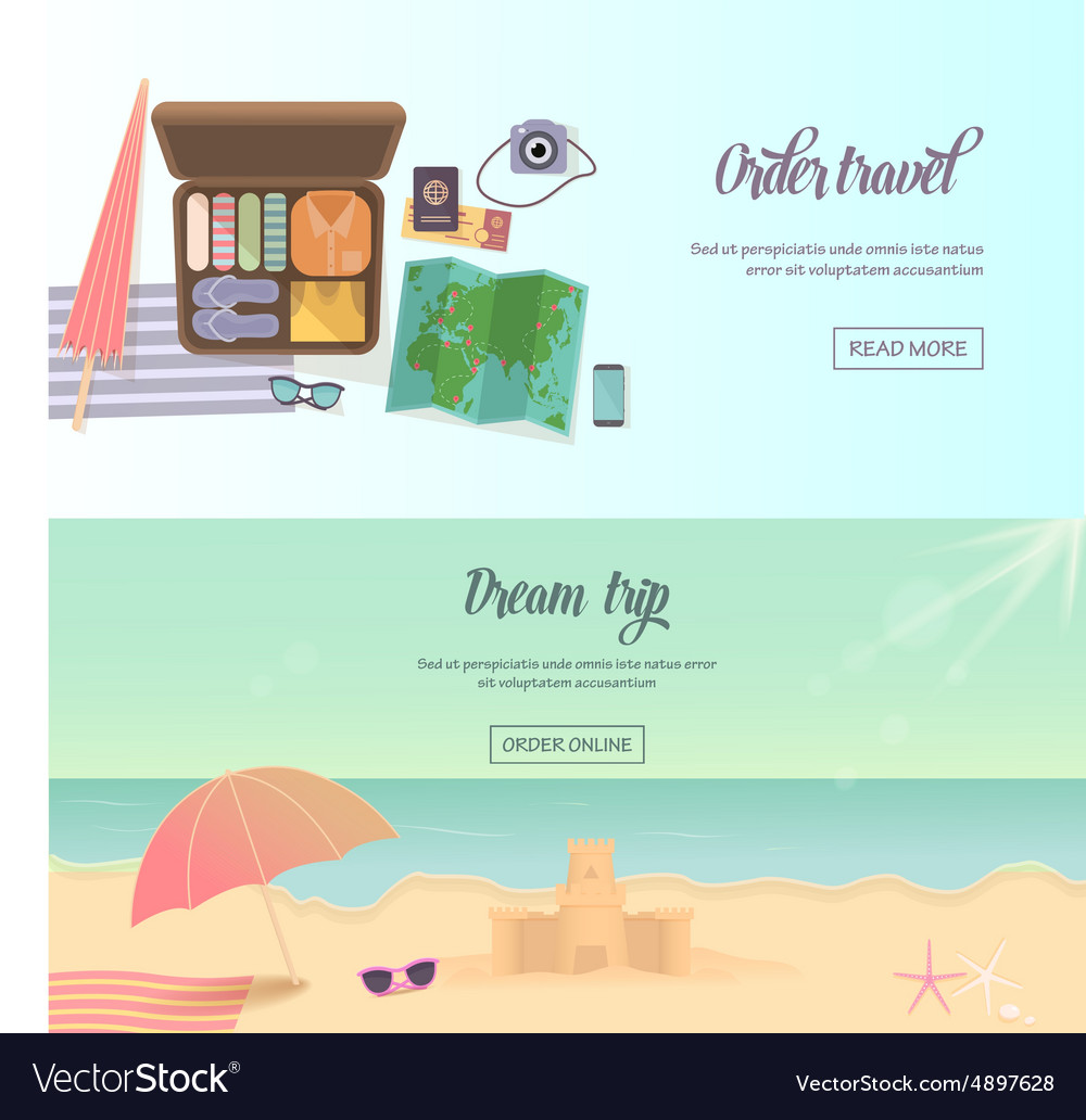 Summer holidays beach labels umbrella and castle vector