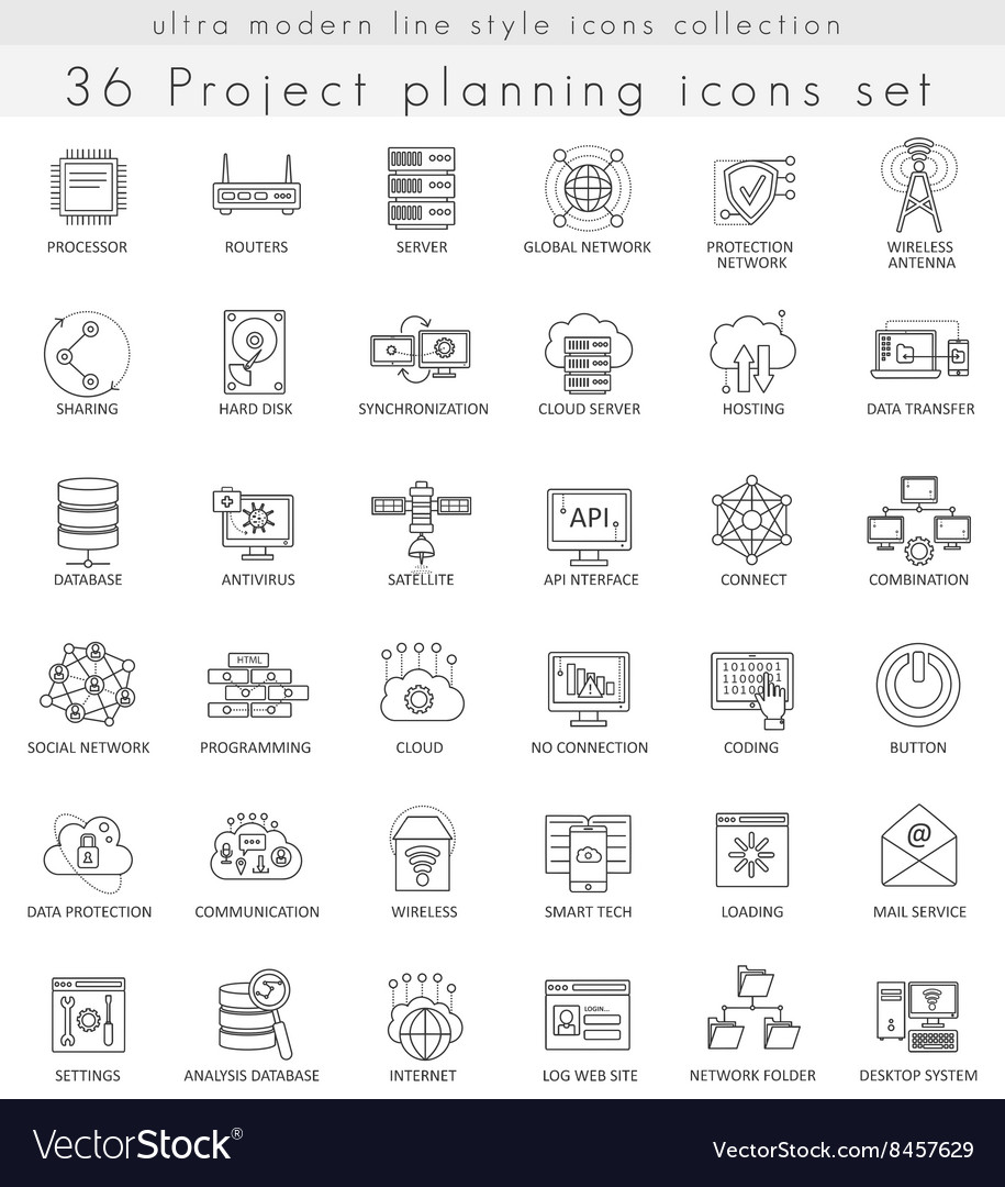 Network technology ultra modern outline vector