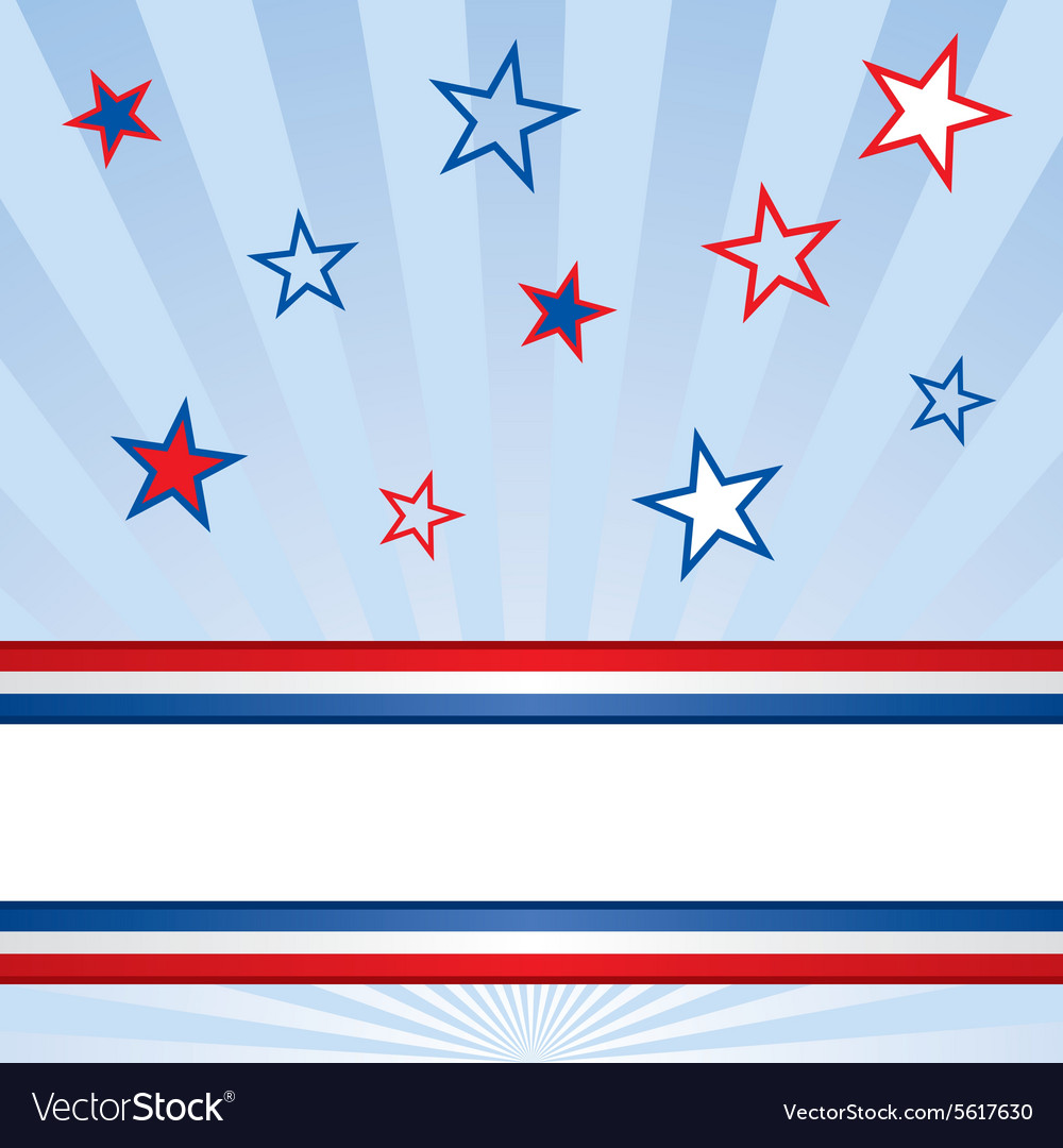 American red white and blue banner and stars vector