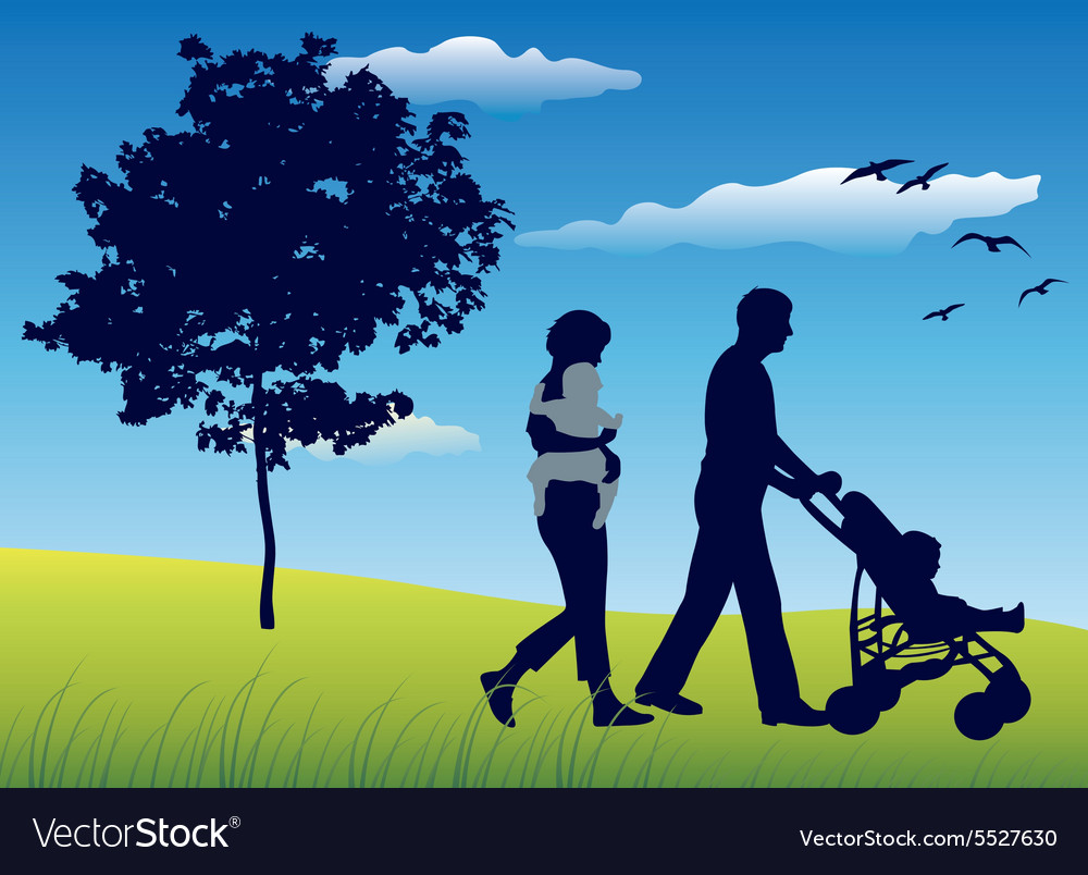 Family with two children and carriage walking on vector