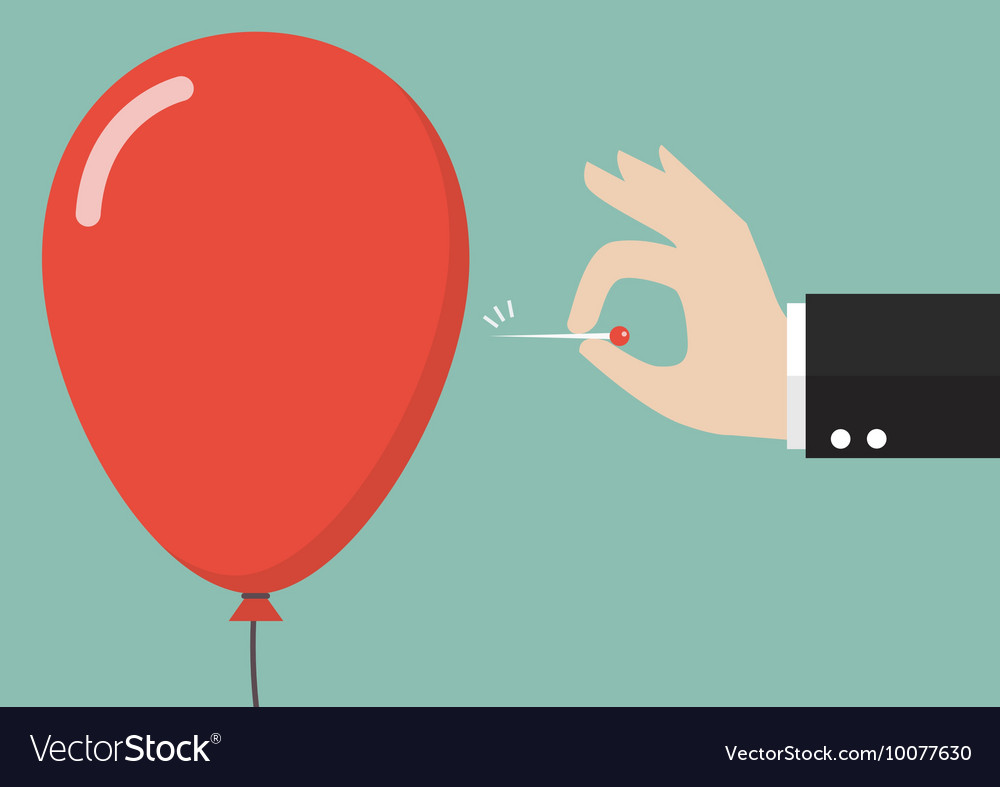 Hand pushing needle to pop the balloon vector