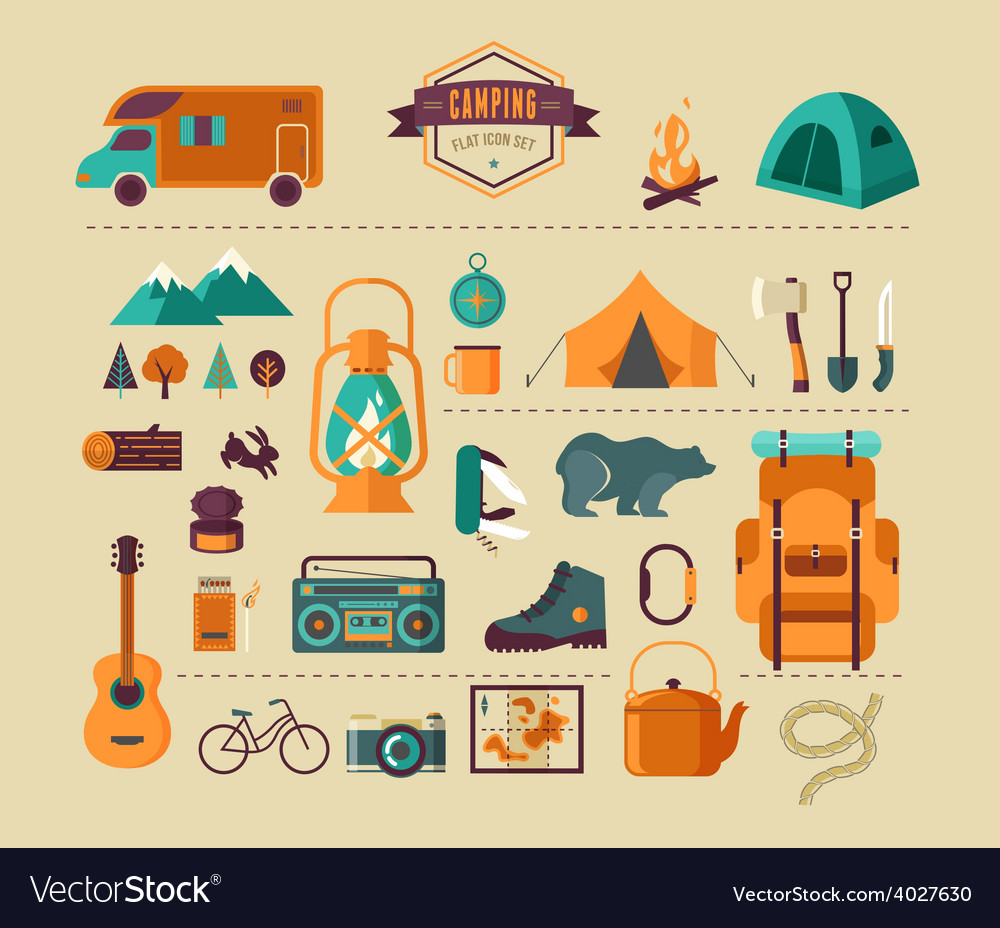 Hiking and camping equipment  icon set and vector
