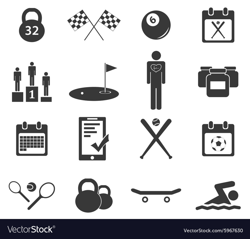 Sport icon set 4 simple vector