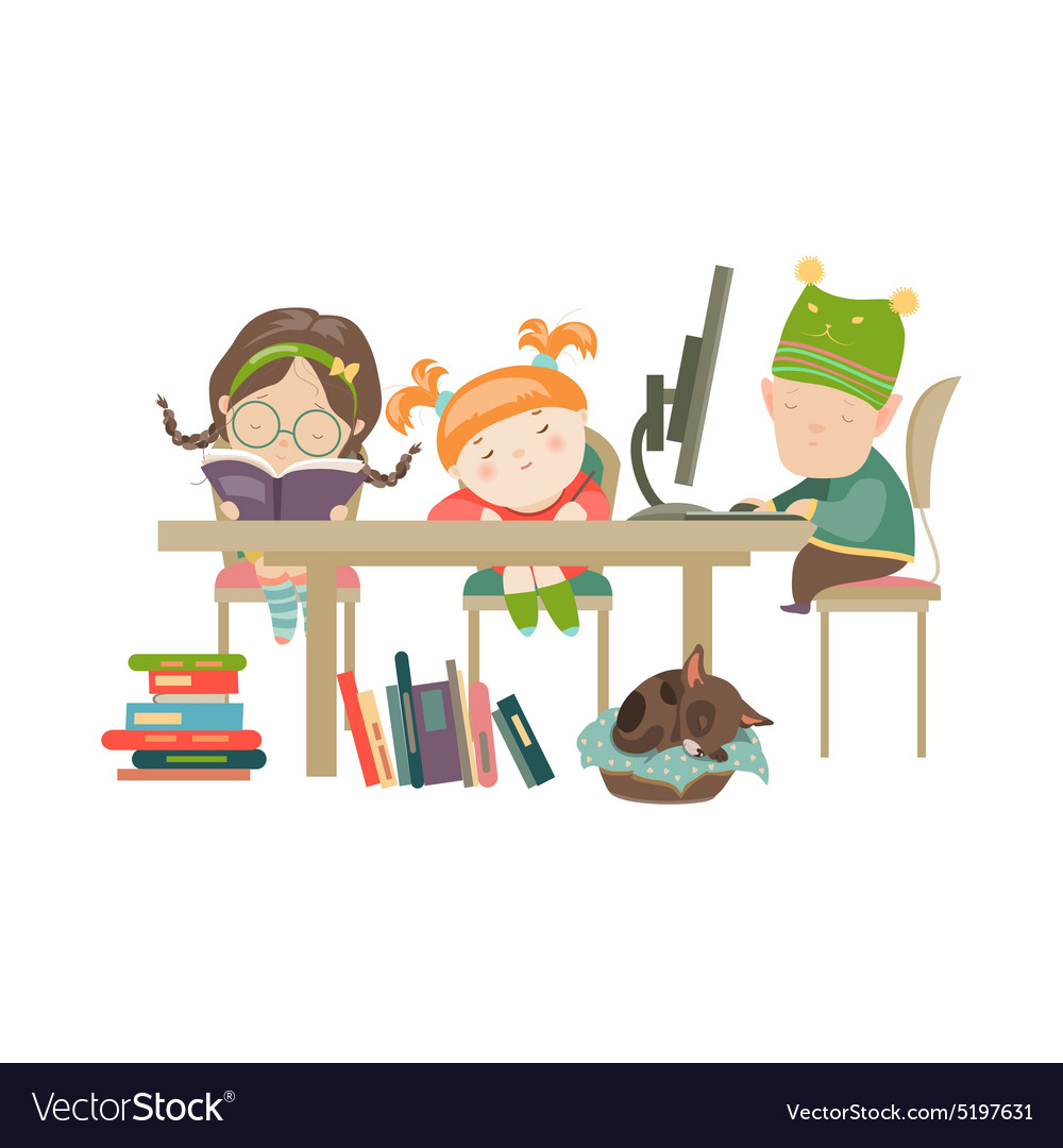 Friends doing homework vector