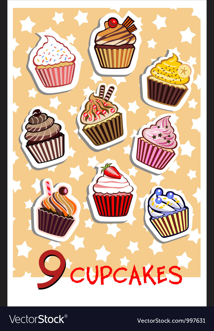 Nine delicious colorful cupcakes vector