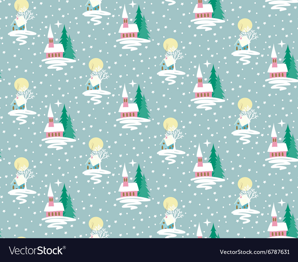 Xmas house pattern vector