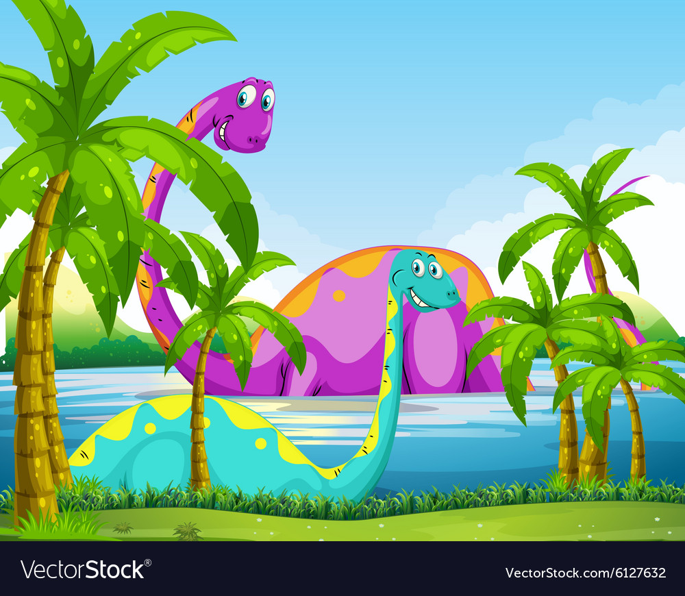 Dinosaur having fun in the lake vector