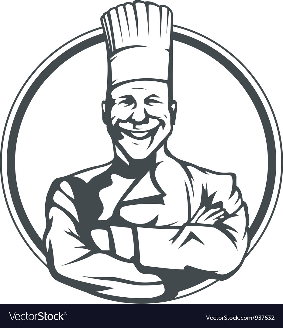 Smiling cook in ring vector