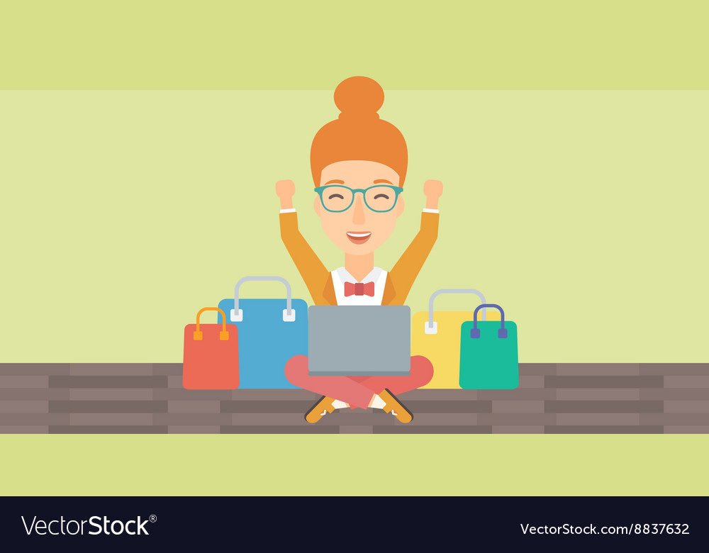 Woman making purchases online vector