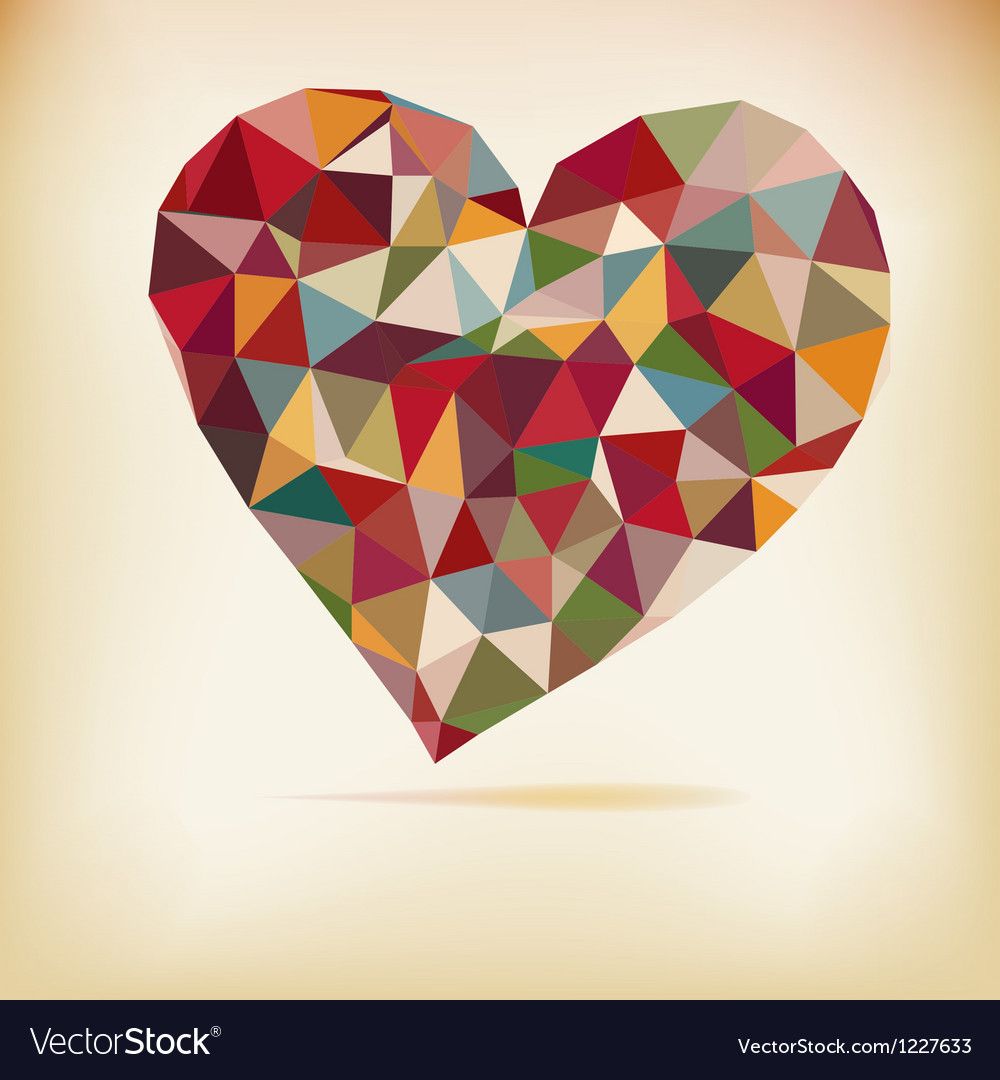 Retro color heart vector