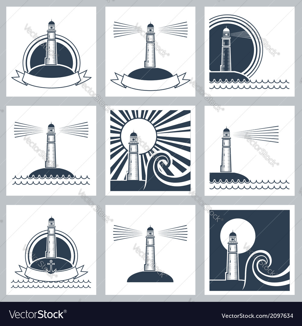 Lighthouse icons vector