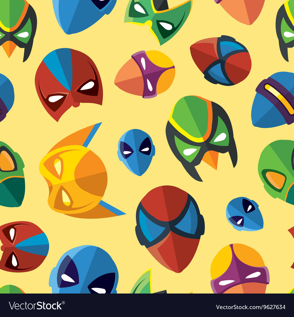 Seamless pattern of super hero masks in flat style vector