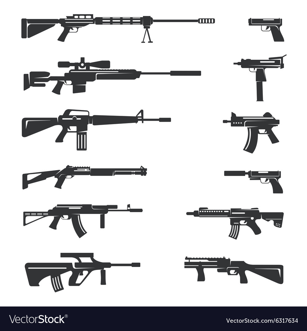 Set of guns icons vector