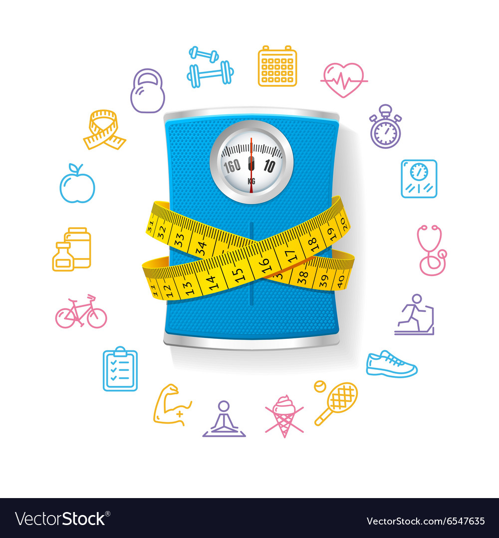 Bathroom scale fitness concept vector