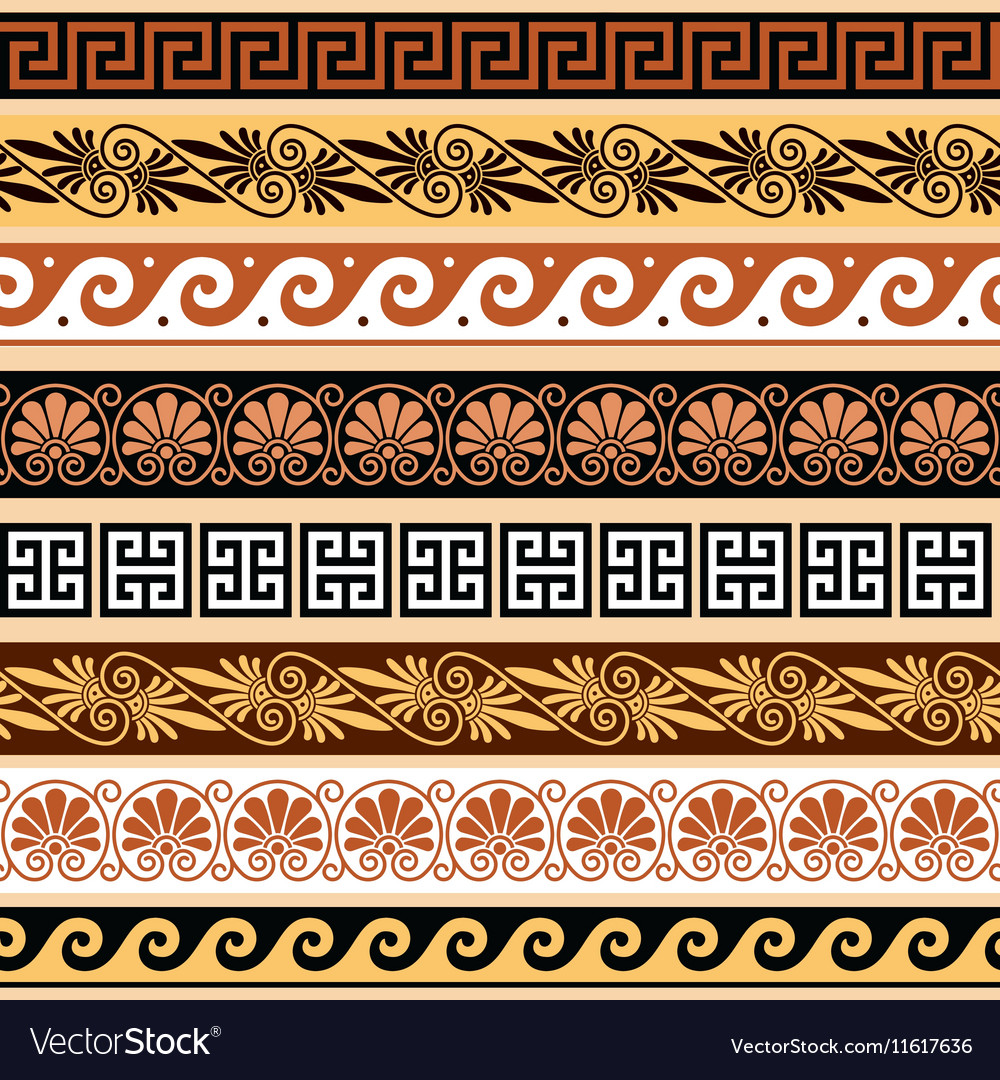 Ancient greek pattern  seamless set of antique bo vector