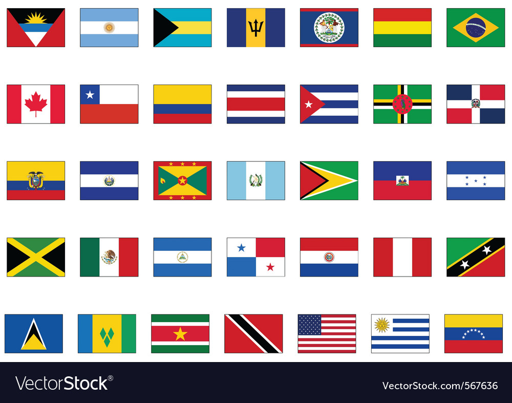 Flag set of all american countries vector
