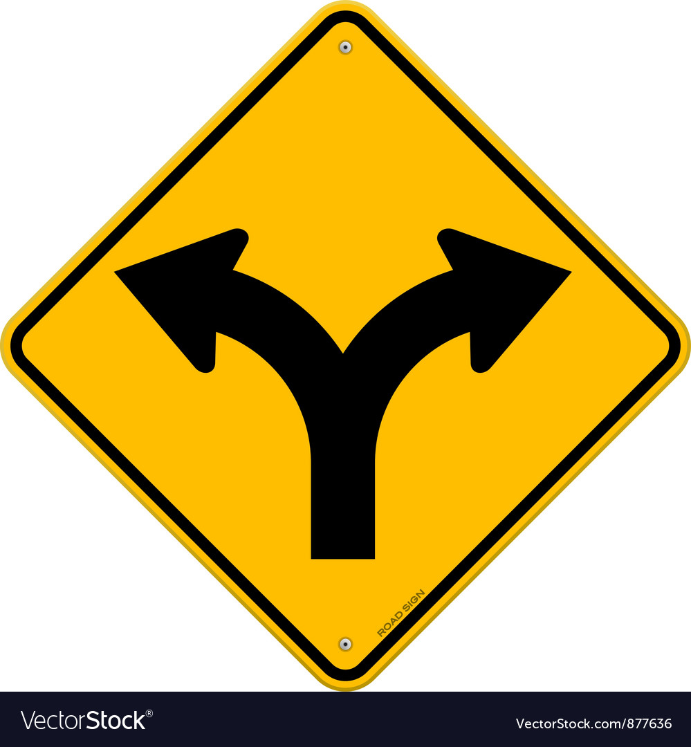 Fork in road sign vector