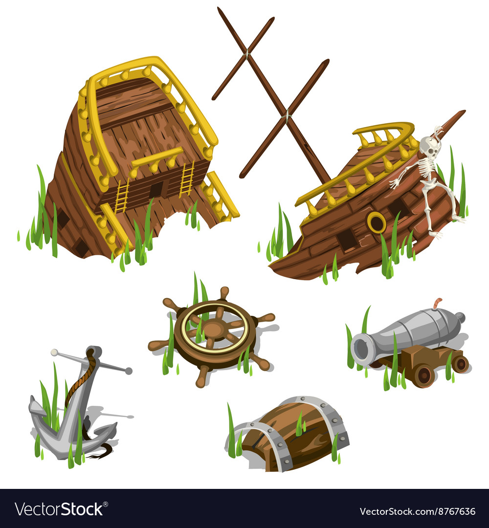 Fragments and parts of a pirate ship isolated vector