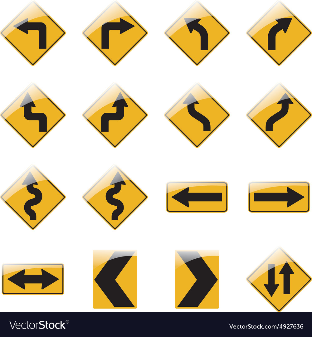 Set of yellow road traffic signs vector