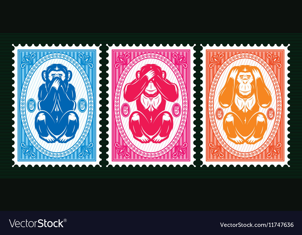 Three colored template with three monkeys vector